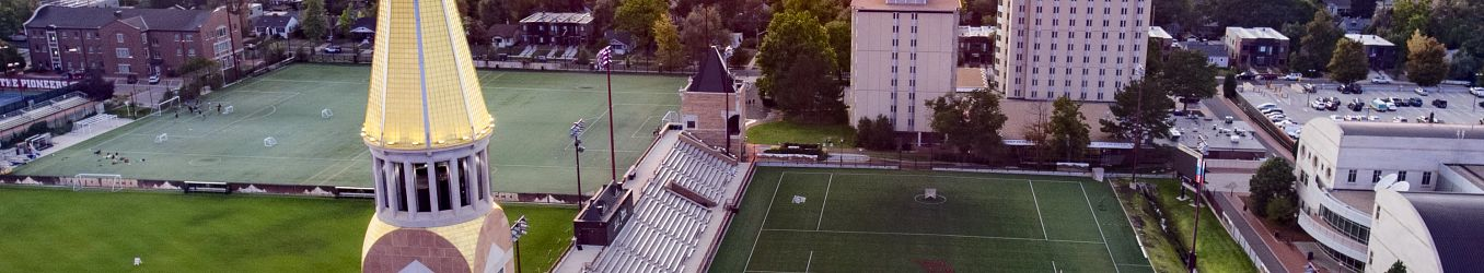 Drone view of sunset on campus