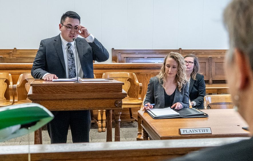 student in court