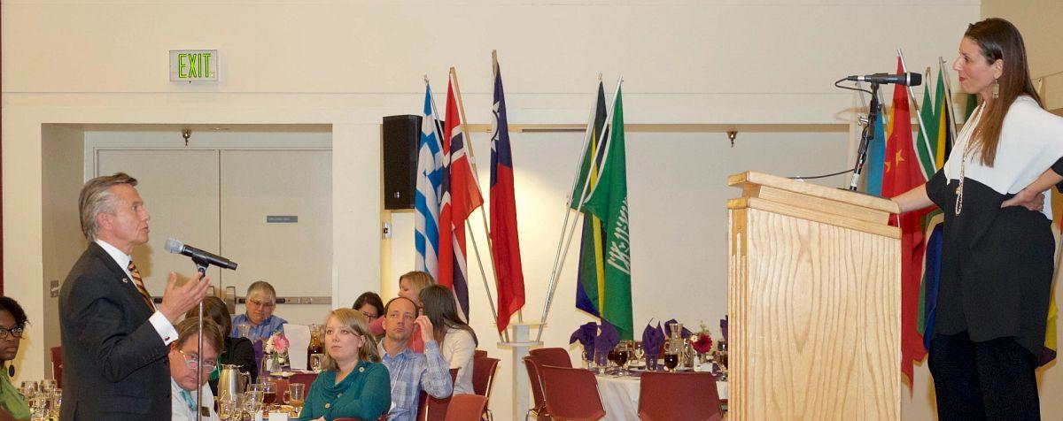speaker and audience at du internationalization summit