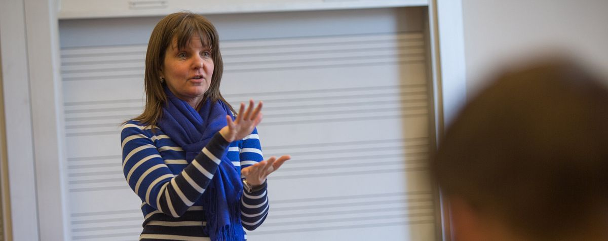Lamont faculty member teaches a music theory class.