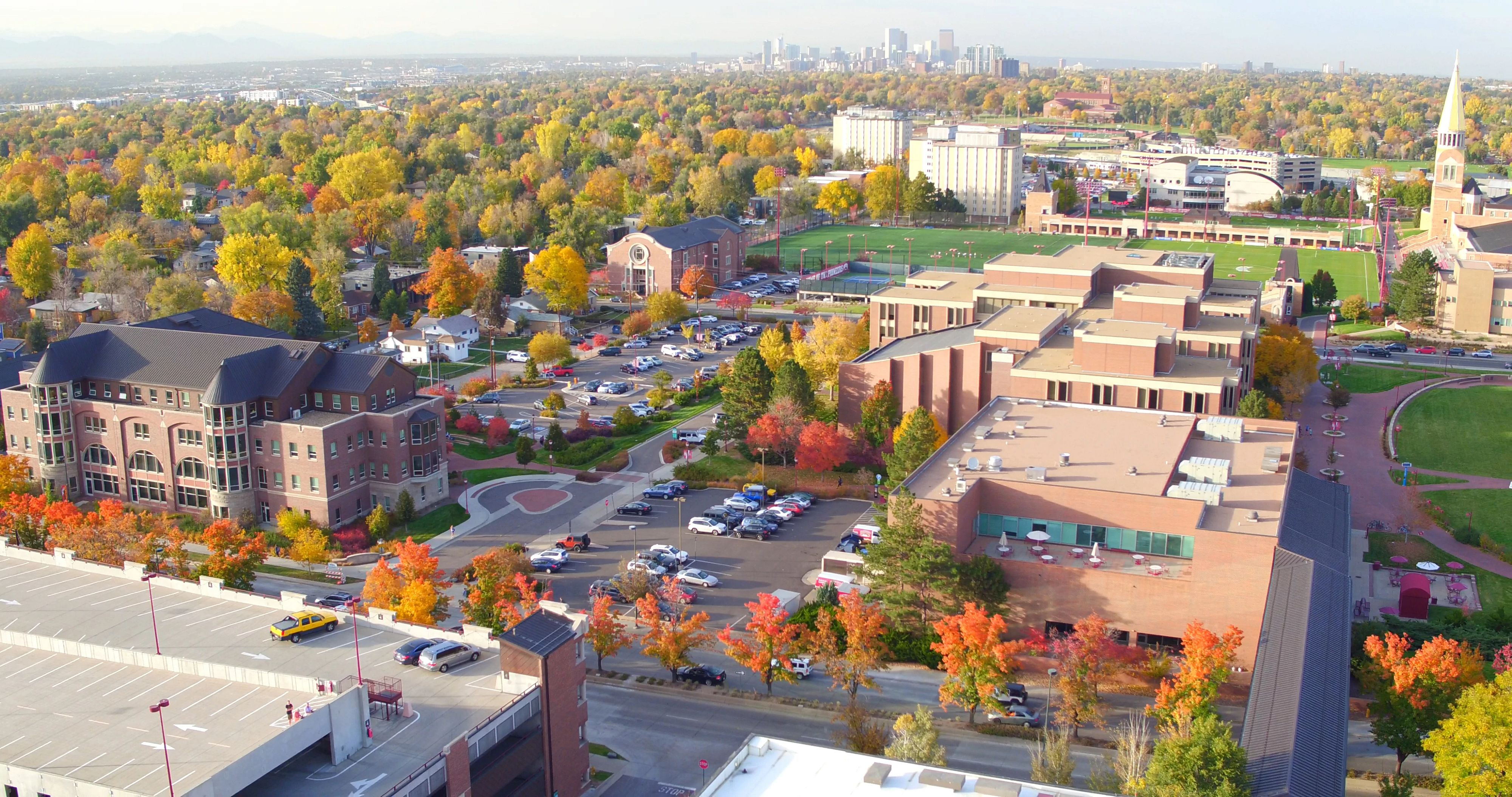 fall campus drone view
