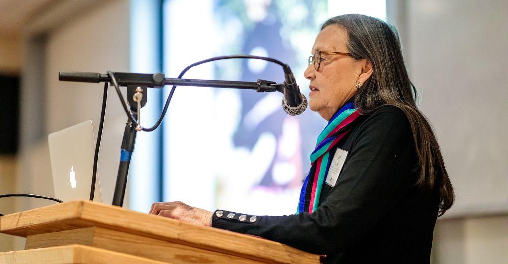 speaker at native american art stewardship event