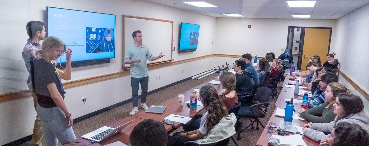 teacher addressing class