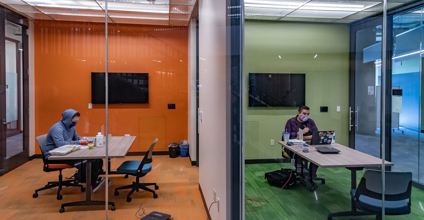 students in study rooms