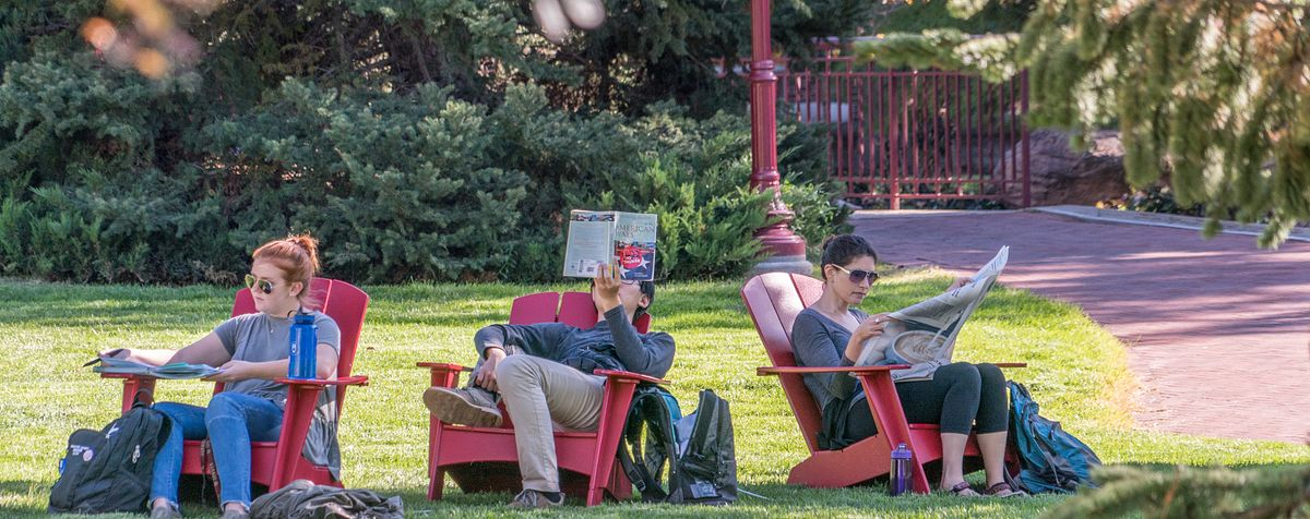 students reading on campus