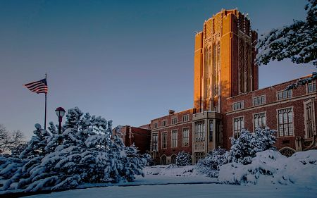 DU Mary Reed building in the snow