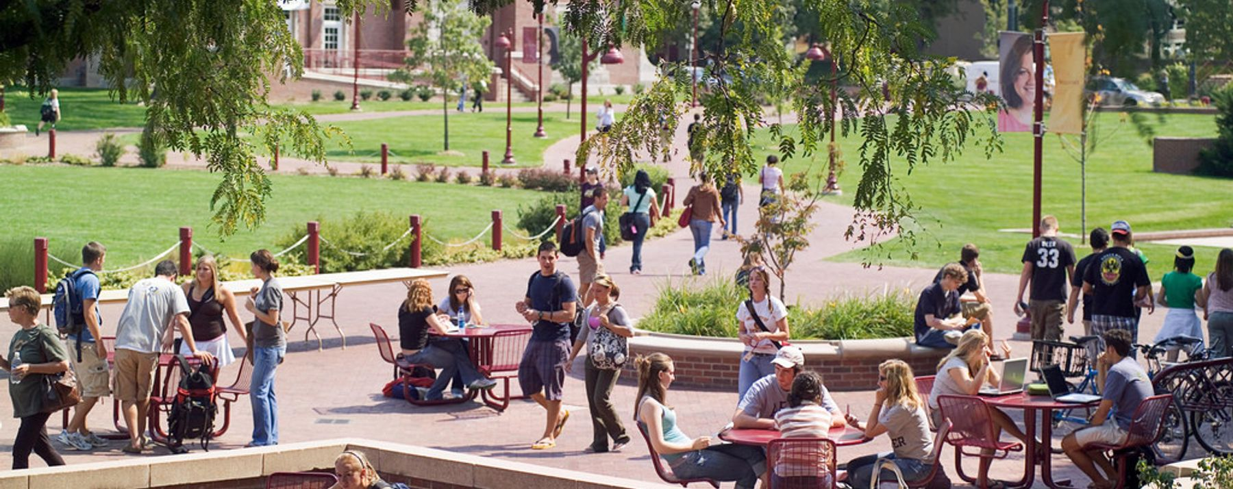 students on sturm patio