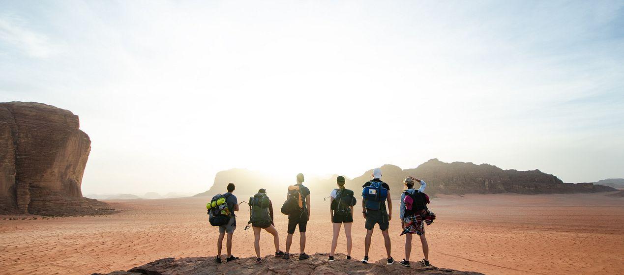 students in desert