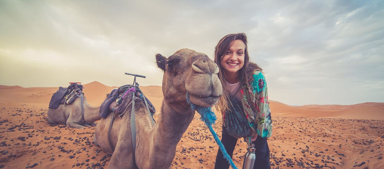 female student with camel