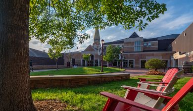 outdoor chairs on DU campus