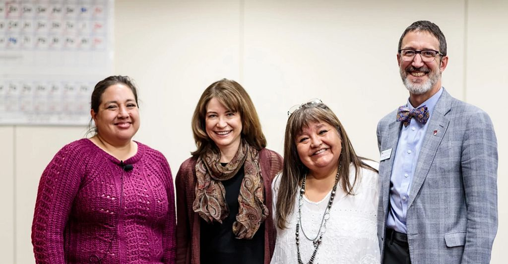 group photo at DU native american art event