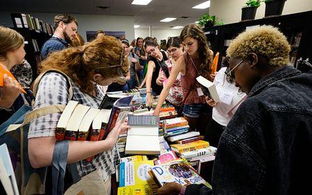 students at a book fair
