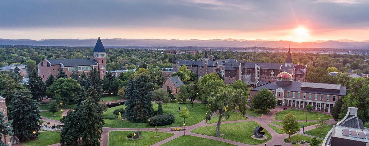 aerial shot of sunset over DU campus