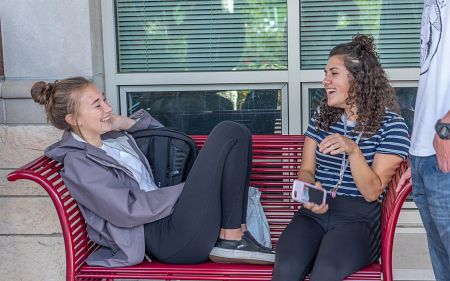 female students talking