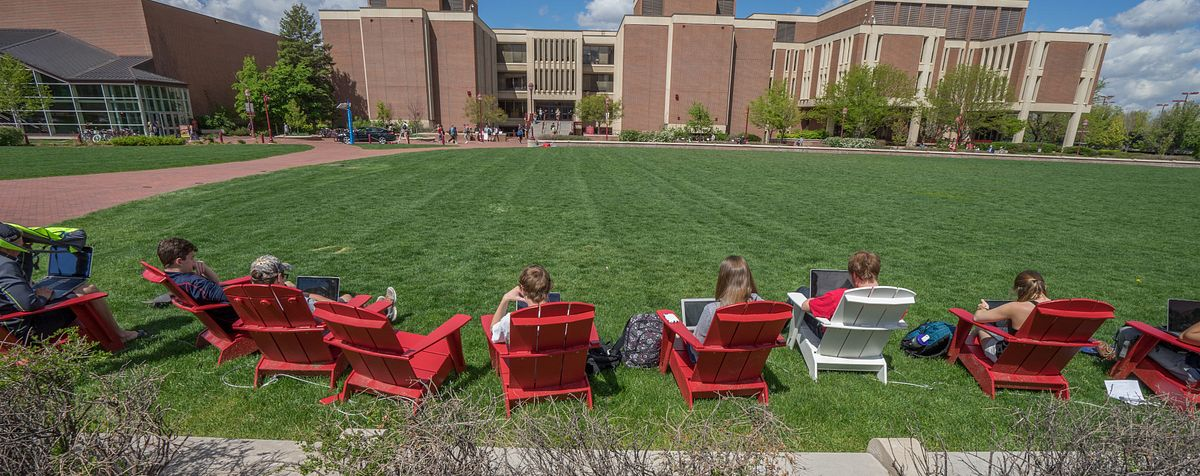 Students studying outside of Sturm hall.