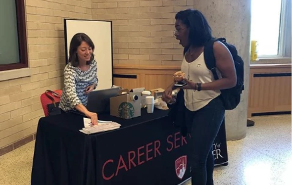 Photo of DU career services booth