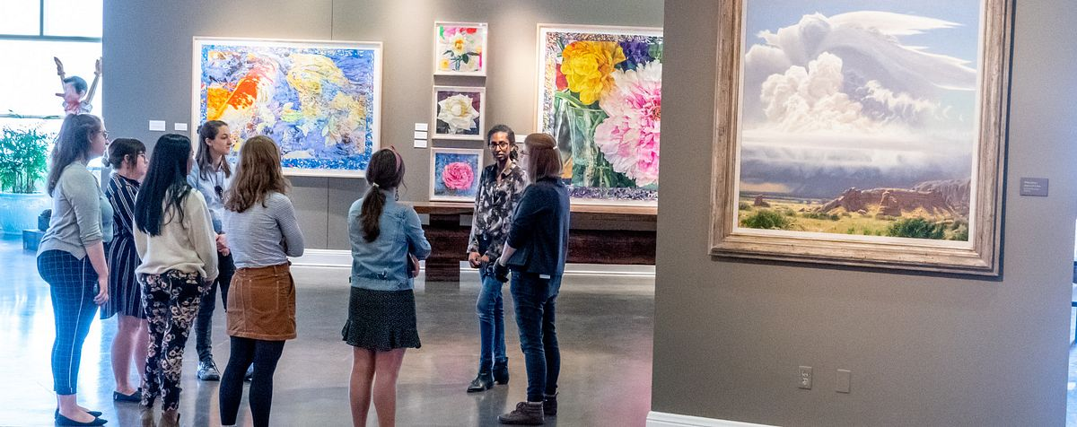 students in art museum