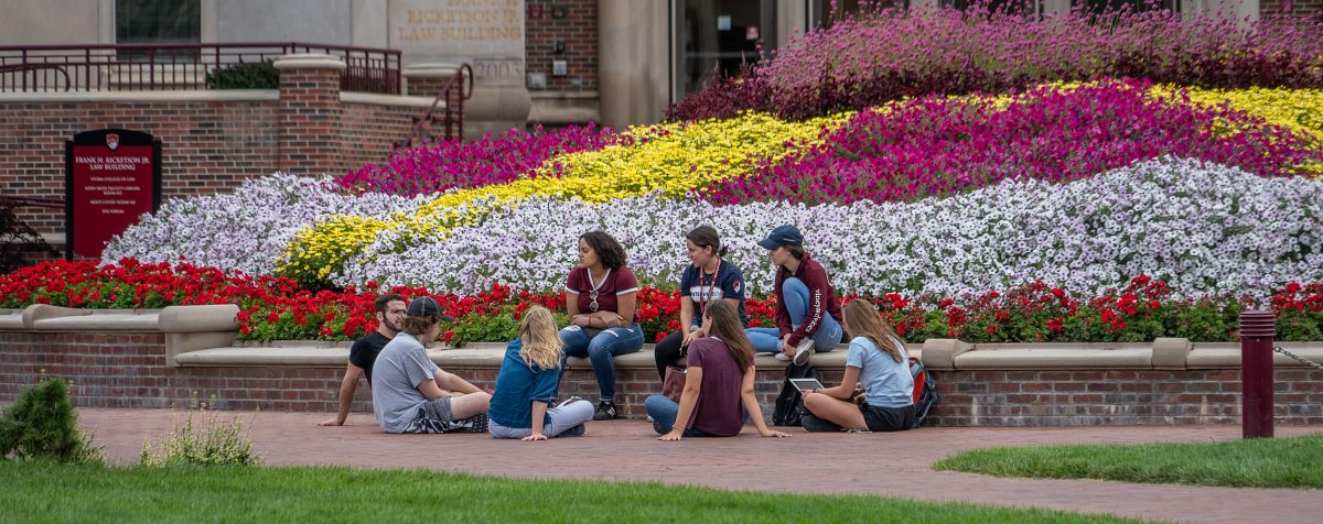 Students gather on the DU campus