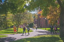 students walking on DU campus