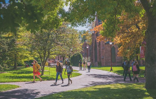 campus scene with people walking