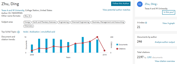 Her author profile in Scopus attests to her expertise, as evidenced by the number of documents she has authored, how often these have been cited, and an h-index of 21.