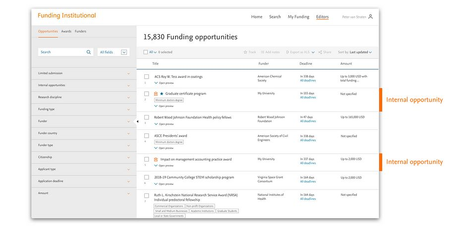 Screen-shot of 'Funding opporunities' | Elsevier Solutions