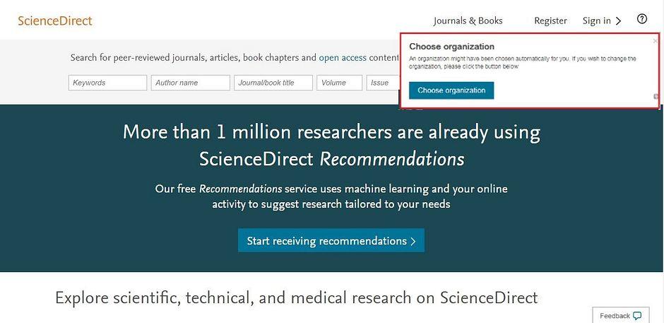 Screenshot of ScienceDirect main page