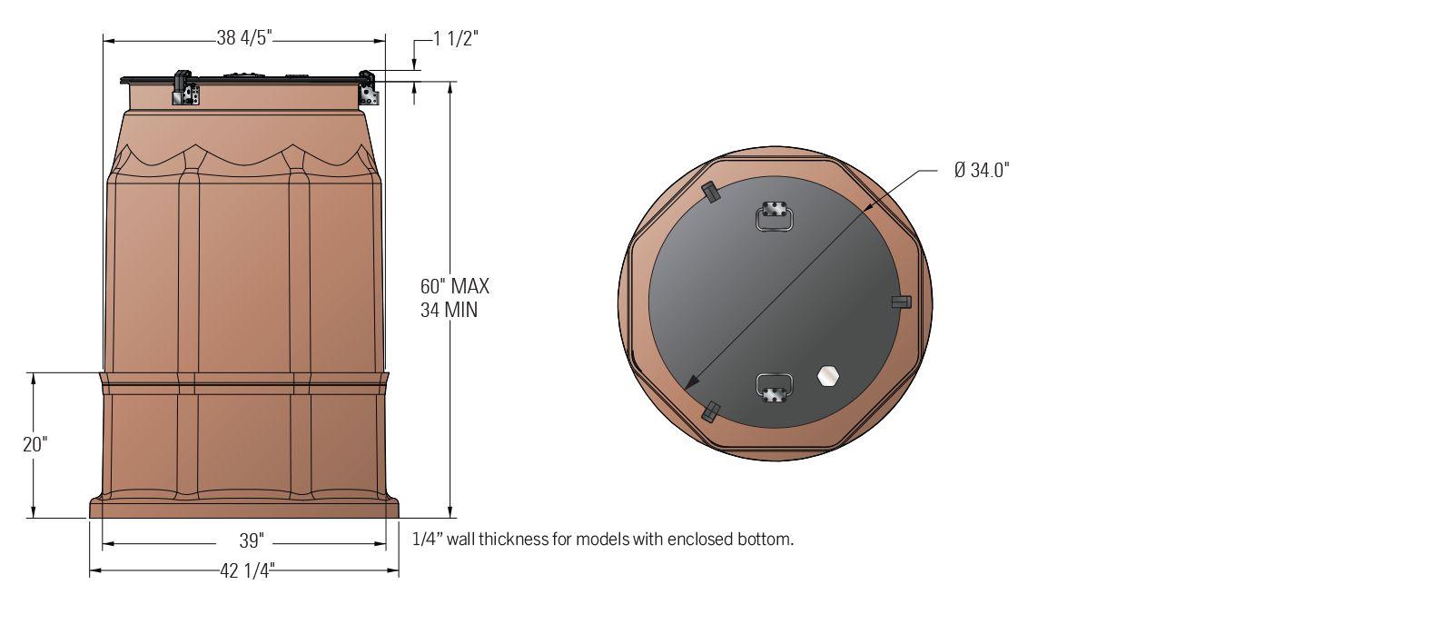 Watertight Tank Sump - 42 Inch - Dims.psd