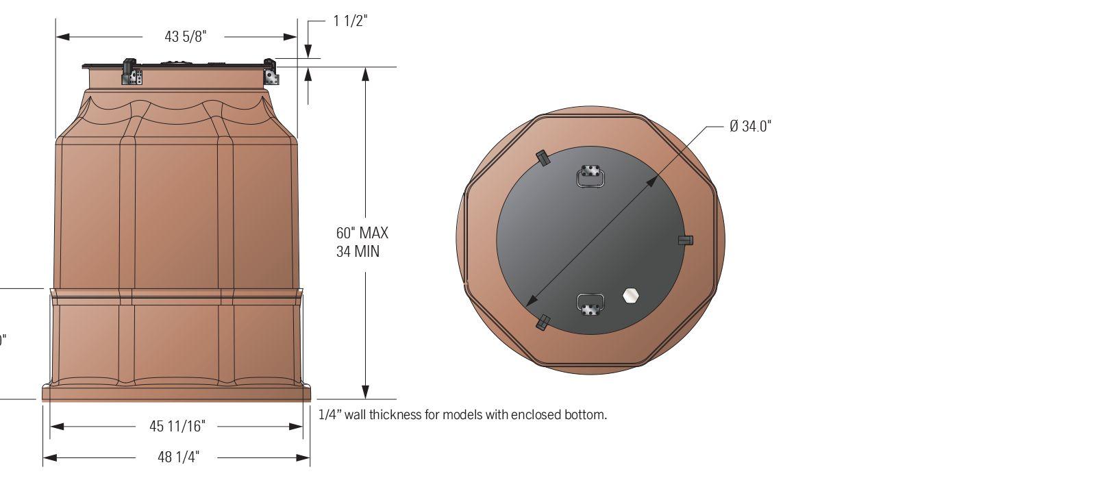 42 in. Watertight Fiberglass Tank Sump Dimensions