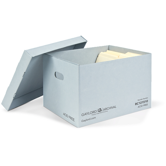 Gaylord Archival® Blue Classic Record Storage Carton with Handholds