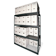 "84""H Steel 24-Carton Record Storage Rack"