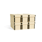 4 3/4H x 4 1/2W x 11 3/4L - Fits 6 (2 levels of 3) in 1 Record Storage Carton. Shown in Light Tan. All boxes sold separately.