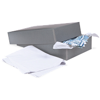 Gaylord Archival® Blue/Grey Barrier Board Textile Box with Tissue