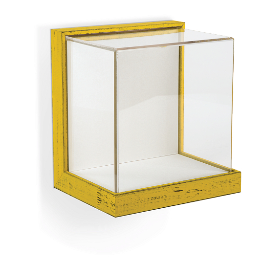 Gaylord Archival® Little Gem Weathered Frame Wall-Mount Exhibit Case with Linen-Wrapped Interior