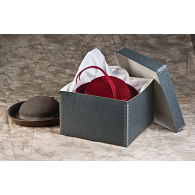 Gaylord Archival® Blue/Grey Barrier Board Lid Hat & Artifact Box with DuraCoat™ Acrylic Coating