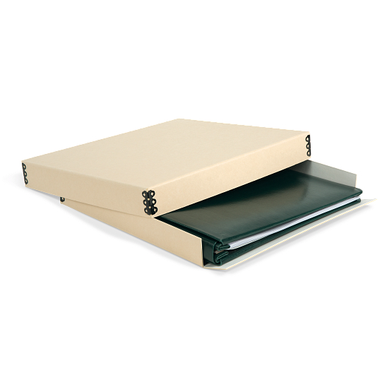 "Gaylord Archival® Tan Barrier Board Drop-Front Box for 12 x 12"" Scrapbooks"