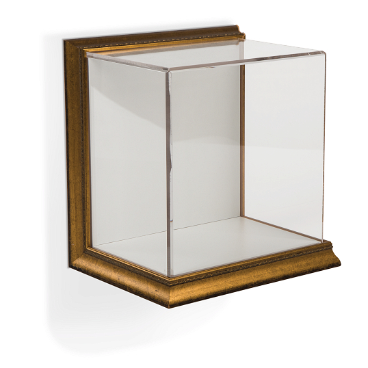 Gaylord Archival® Little Gem Metallic Venice Frame Wall-Mount Exhibit Case with Linen-Wrapped Interior