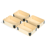 "Gaylord Archival® Light Tan E-flute 3 x 4 1/2"" Internal Trays for Modular Box System (4-Pack)"