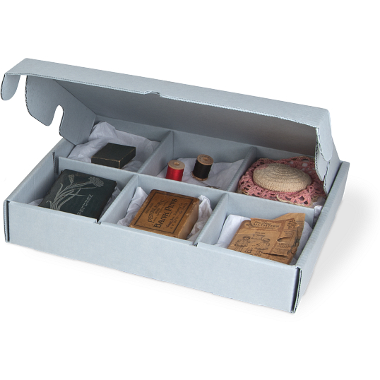 Gaylord Archival® B-flute Divided 6-Compartment Clamshell Box
