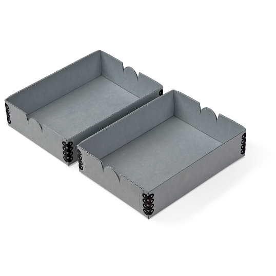 "Gaylord Archival® Blue E-flute 4 3/8 x 6"" Internal Trays for Modular Box System (2-Pack)"