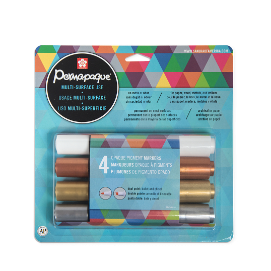 Sakura® Permapaque® Dual-Point Metallic Paint Markers (4-Pack)