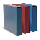 Shown in Blue Tweed, Navajo Red and Royal Blue (left to right) with optional slipcases (sold separately).