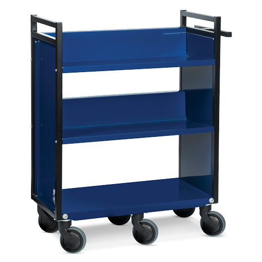 Gryphon® 3-Tier Single-Sided Steel Book Truck
