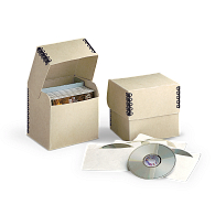 Gaylord Archival® Tan Barrier Board Flip-Top CD Box