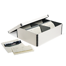 High-Capacity Barrier Board Photo Box with Envelopes in White