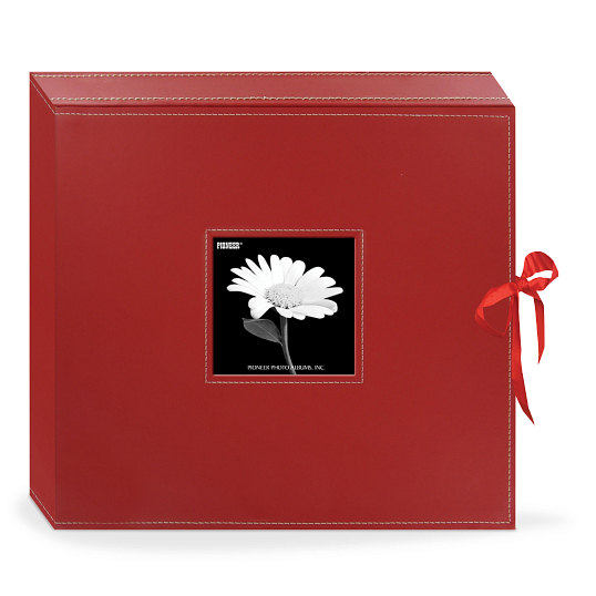 "Pioneer® 1 1/4"" D-Ring Leatherette Box Scrapbook with Ribbon Closure"