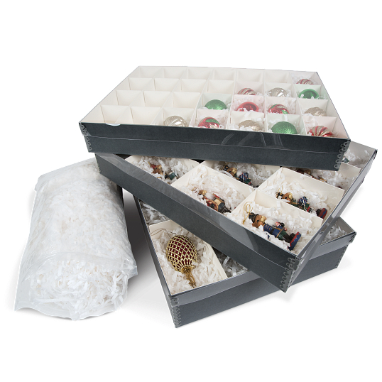 Gaylord Archival® Clear Lid Ornament Box with Shredded Tissue