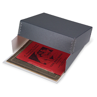 Gaylord Archival® Blue/Grey Barrier Board Drop-Front Deep Lid Print Box with DuraCoat™ Acrylic Coating