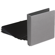 "1"" D-Ring Buckram Photo Preservation Album with 35 Black Pages & Protectors"
