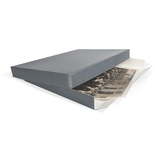 Gaylord Archival® Blue/Grey Barrier Board Drop-Front Oversize Print Box